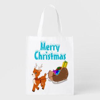 Cute Little Christmas Reindeer Reusable Bag Grocery Bag