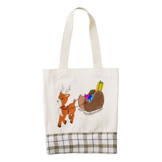 Cute Little Christmas Reindeer Zazzle HEART Bag