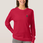 Cute Little Christmas Tree Holiday Embroidered Long Sleeve T-Shirt