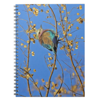 Cute Little Colorful Bird on Branch in Blue Sky Notebook