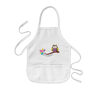 Cute Little colorful owl on a branch Personalized Kids' Apron