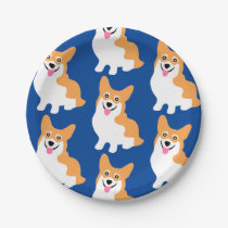 Cute Little Corgi Pattern Paper Plate