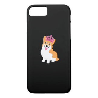 Cute Little Corgi Princess Wearing a Pink Crown iPhone 8/7 Case
