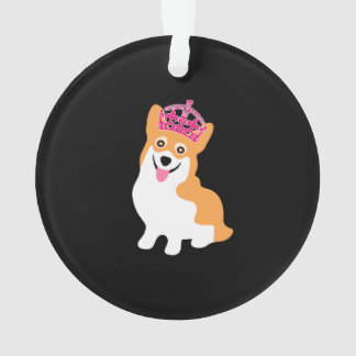 Cute Little Corgi Princess Wearing a Pink Crown Ornament