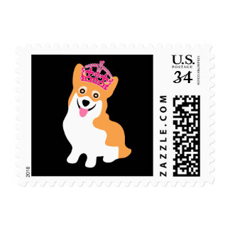 Cute Little Corgi Princess Wearing a Pink Crown Postage Stamp