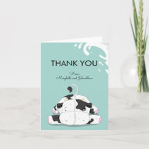 Cute Little Cow Baby Shower Thank You Card