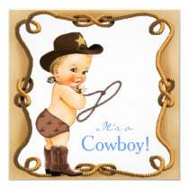 Cute Little Cowboy Baby Shower Card