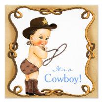 Cute Little Cowboy Baby Shower Invitation