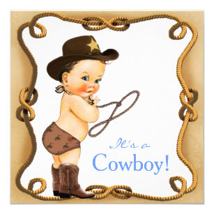 Cowboy Baby Boy Shower Invitations Zazzle