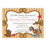 Cute Little Cowboy Birthday Party Invitations Custom Announcement