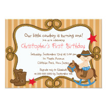 Cute Little Cowboy Birthday Party Invitations