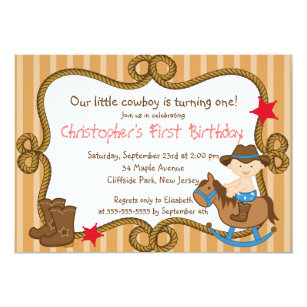 Cowboy Birthday Invitations Announcements Zazzle