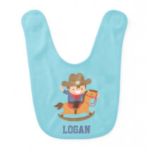 Cute Little Cowboy on Rocking Horse Baby Boys Baby Bib