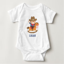 Cute Little Cowboy on Rocking Horse Baby Boys Baby Bodysuit