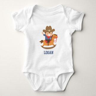 Cute Little Cowboy on Rocking Horse Baby Boys Baby Bodysuit