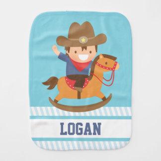 Cute Little Cowboy on Rocking Horse Baby Boys Burp Cloth