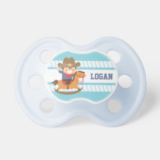 Cute Little Cowboy on Rocking Horse Baby Boys Pacifier