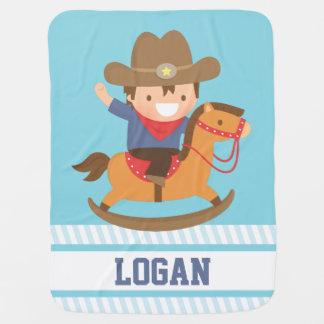 Cute Little Cowboy on Rocking Horse Baby Boys Receiving Blanket