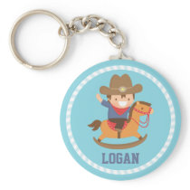 Cute Little Cowboy on Rocking Horse Keychain