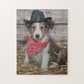Cute Little Cowboy Puppy Jigsaw Puzzle