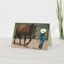 Cute Little Cowgirl Birthday Card
