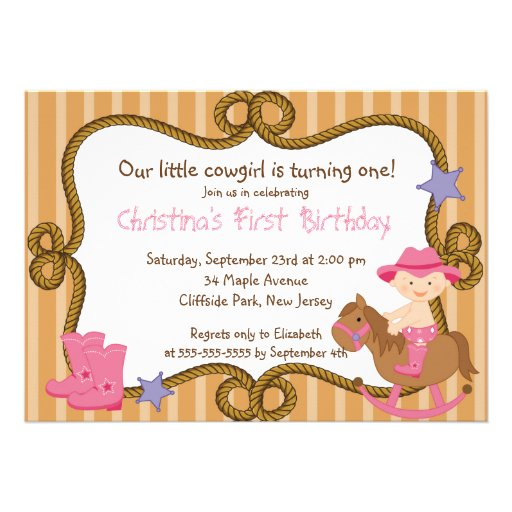 Personalized girls western birthday invitations cute little cowgirl birthday party invitations filmwisefo