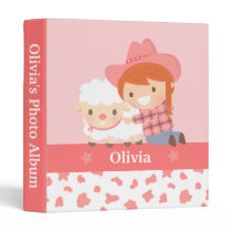 Cute Little Cowgirl Hugs Lamb Girls Photo Album Binder