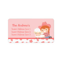 Cute Little Cowgirl with Lamb For Girls Label