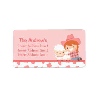 Cute Little Cowgirl with Lamb For Girls Address Label