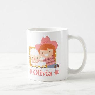 Cute Little Cowgirl with Lamb Girls Mug