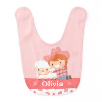 Cute Little Cowgirl with Lamb Personalized Baby Bib
