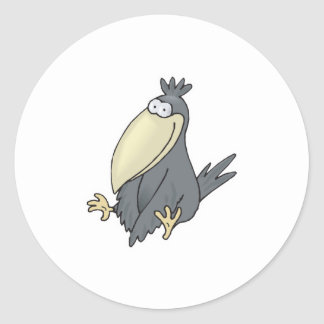cute little crow classic round sticker