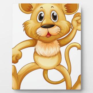 Cute little cub jumping plaque