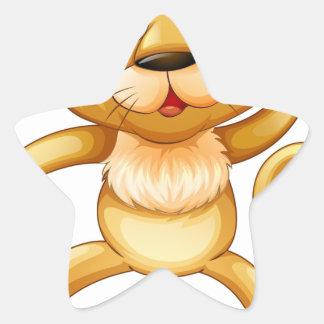 Cute little cub jumping star sticker