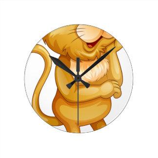 Cute little cub standing alone round clock