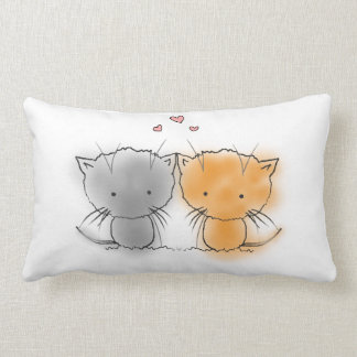 Cute Little Cuddly Kittens Orange and Grey Lumbar Pillow