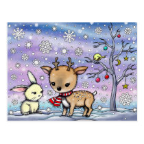 Cute Little Deer and Bunny Illustrated Art Postcard