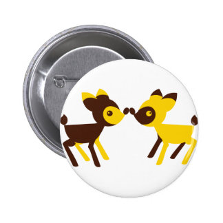 cute little deers touching noses button