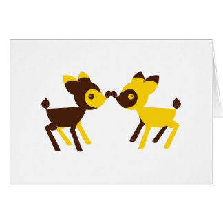 cute little deers touching noses card