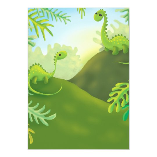 cute little dinosaur land scene card