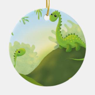 cute little dinosaur land scene ceramic ornament