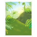 cute little dinosaur land scene letterhead design