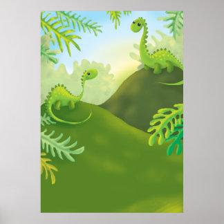 cute little dinosaur land scene poster