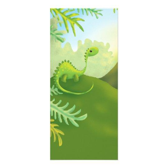 cute little dinosaur land scene rack card