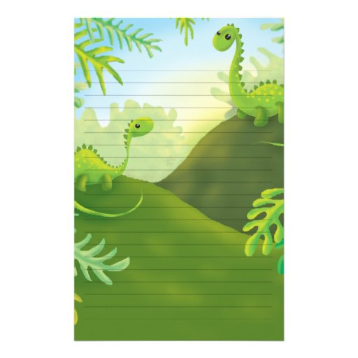 cute little dinosaur land scene personalized stationery