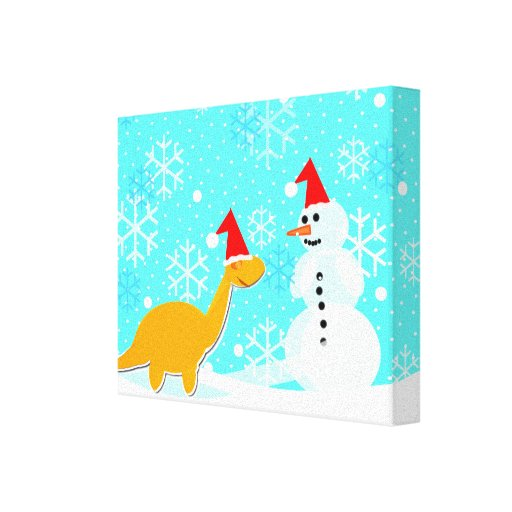 Cute Little Dinosaur with Snowman Wrapped Canvas Gallery Wrap Canvas