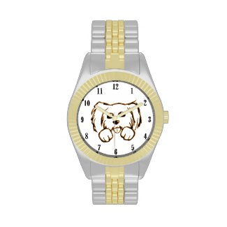 Cute Little Dog 2 tone Wrist Watch