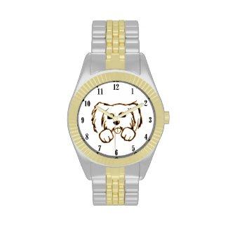 Cute Little Dog 2 tone Wrist Watch