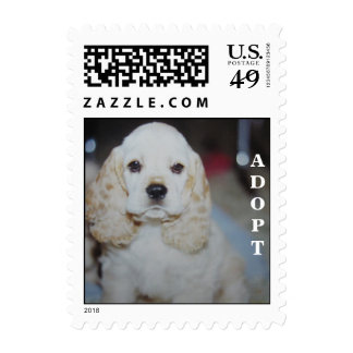 Cute little dog face postage stamp