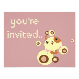 "cute little dog invitation 4.25"" x 5.5"" invitation card"
